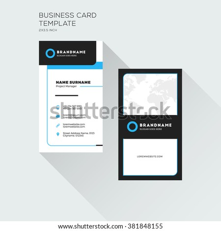 Vertical business card print template personal stock vector royalty vertical business card print template personal visiting card with company logo black and blue wajeb Gallery
