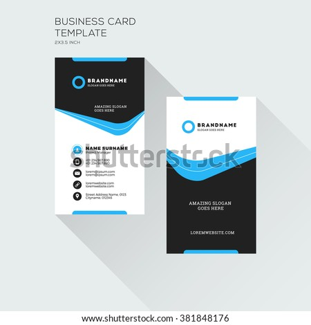 Vertical Business Card Print Template Personal Image Vectorielle De