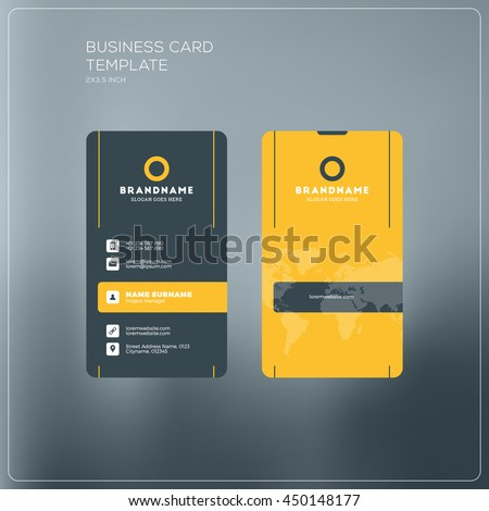 Vertical business card print template personal stock vector royalty vertical business card print template personal business card with company logo black and yellow fbccfo Gallery