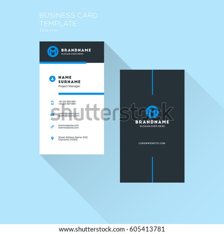 vertical business card print template personal visiting card with company logo clean flat design