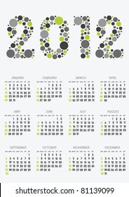 vertical calendar 2012 year with retro dots theme