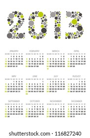 vertical calendar 2013 year with retro dots theme