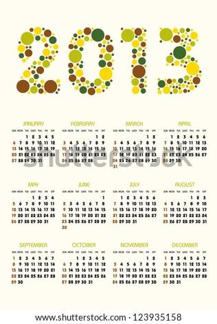 vertical calendar 2013 year retro dots stock vector royalty free