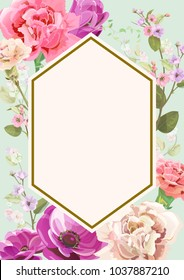 Vertical card for Mother's Day with carnation, poppy, spring blossom: red, pink, white flowers, leaves, vintage background, botanical illustration, watercolor style, polygon frame, copy space, vector