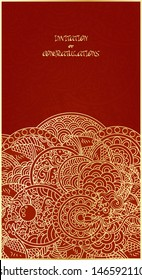 Vertical card template - gold ornament on red