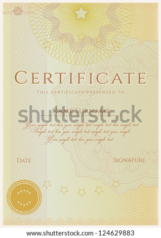 vertical certificate completion template guilloche pattern stock