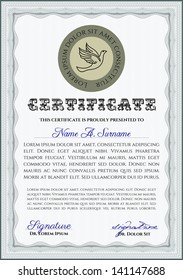 Vertical certificate or diploma template with background and sample text.