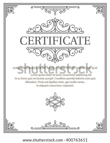 vertical certificate template diploma linear vintage stock vector