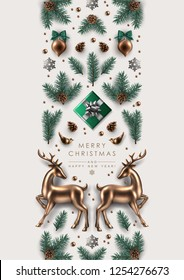 Vertical Christmas Border made of  Realistic Pine Branches, Gift Box, Glass Christmas Ornaments Birds and Deer, Glitter Snowflakes.  Flat lay, top view.