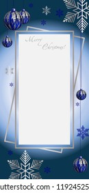 Vertical Christmas illustration, with blue - silver balls and blue snowflakes. Christmas decoration and congratulations. Christmas art. Christmas card.