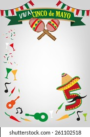 Vertical Cinco de Mayo celebration template poster design with Mexican design elements. Editable EPS10 Vector Illustration and jpg.