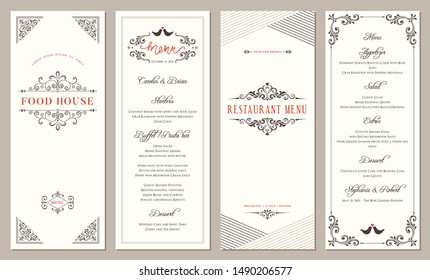 Vertical classic templates. Wedding and restaurant menu. Vector illustration.
