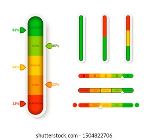 Vertical color level indicator. Progress bar template. Vector infographic illustration slider element measurement progression with arrow symbol