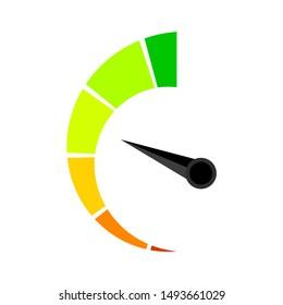 Vertical colored speedometer or barometer indicator. Illustration indicator for credit solvency vector