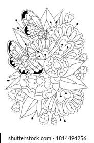 Página de coloreo vertical para niños y adultos con flores y mariposas. Fondo blanco-negro. Ilustración vectorial.