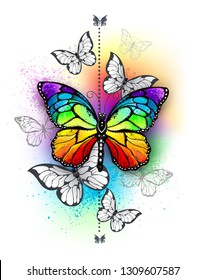 Vertical composition with rainbow and white butterflies on iridescent multicolored background. Tattoo style.