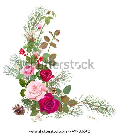 vertical corner border red pink roses stock vector royalty free