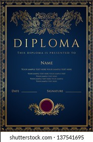 Vertical dark blue Diploma / Certificate  (template) with guilloche pattern (watermarks), golden floral border. Background design usable for invitation, gift voucher or awards. Vector