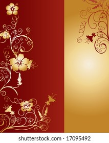 Vertical dark red and gold background pattern with floral ornaments