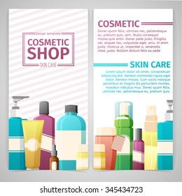 Vertical design template of brochures, booklets, posters, banners about cosmetics shop and skin care. Design with bottles cosmetic, tube of decorative cosmetics for skin care. Vector.