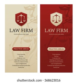 Vertical design template for law office, firm or company with justice scales logo and Themis statue silhouette on background. Can be used as web banner, poster, brochure, leaflet or flyer etc.