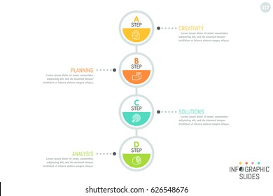 Vertical diagram, 4 connected round elements with letters, icons inside and text boxes. Minimalist infographic design layout. Four successive steps to goal achievement concept. Vector illustration.