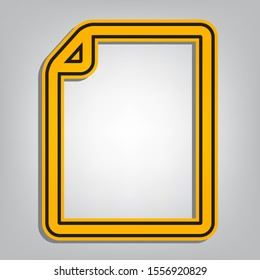 Vertical document sign illustration. Flat orange icon with overlapping linear black icon with gray shadow at whitish background. Illustration.