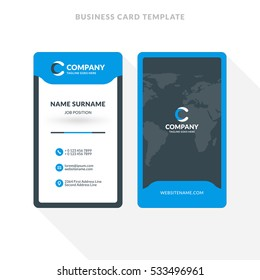 Vertical Double-sided Business Card Template. Blue and Black Colors. Flat Design Vector Illustration. Stationery Design