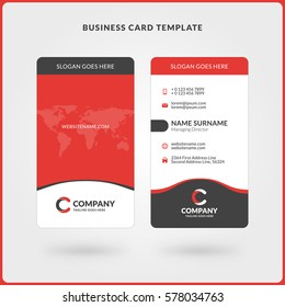 Vertical Double-sided Business Card Template. Red and Black Colors. Flat Design Vector Illustration. Stationery Design