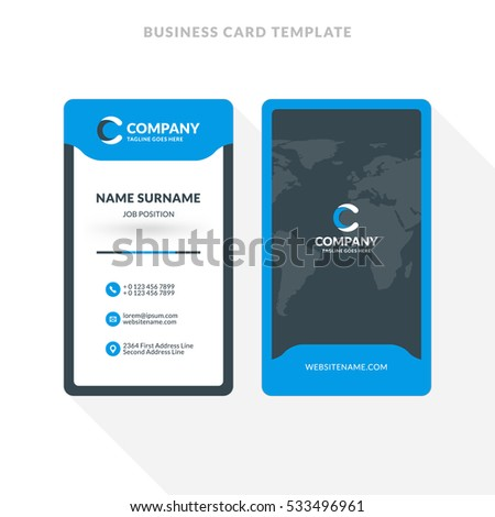 Vertical Doublesided Business Card Template Blue Image Vectorielle