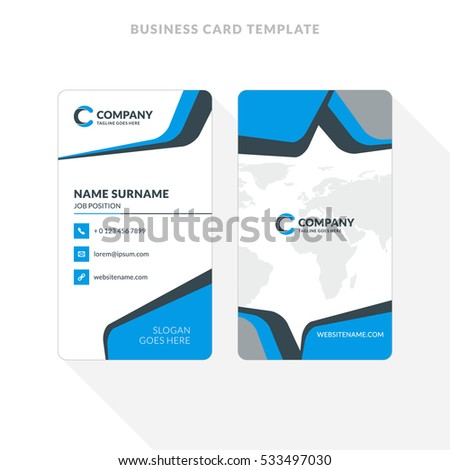 vertical doublesided business card template blue のベクター画像素材