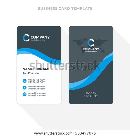 Vertical Double Sided Business Card Template Blue And Black Colors Flat Design Vector
