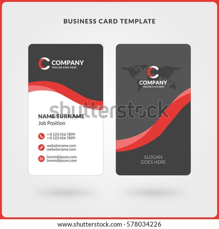 Vertical doublesided business card template red stock vector vertical double sided business card template red and black colors flat design vector colourmoves