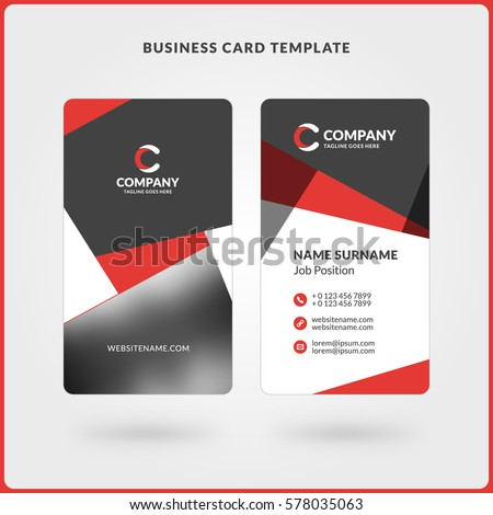 Vertical doublesided business card template red stock vector vertical double sided business card template red and black colors flat design vector flashek Images