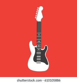 vertical electric black & white vector Guitar. playing Rock music. rock and roll icon illustration on red background flat design style