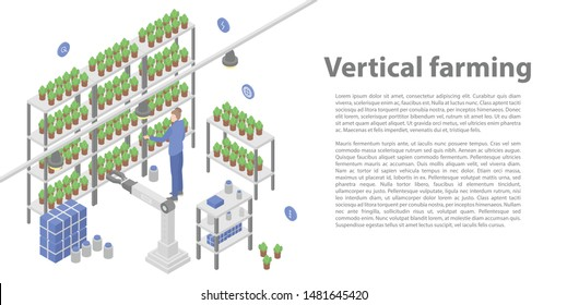 Vertical farming concept banner. Isometric illustration of vertical farming vector concept banner for web design