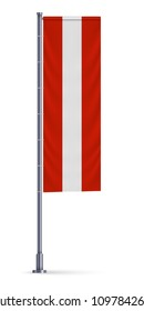 Vertical flag of Austria hanging on a silver metallic pole.