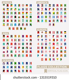 Vertical flag icon of Africa, America, Asia, Europe and Oceania countries. Vector flag collection.