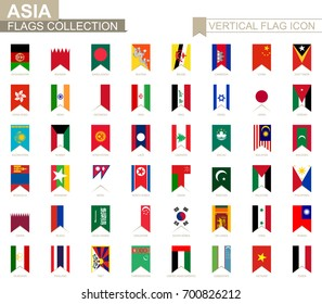 Vertical flag icon of Asia. Asian countries vector flag collection.