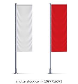 Vertical flag mockup. Banner template
