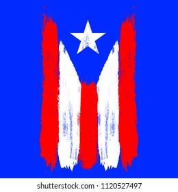 Vertical flag of Puerto Rico. Brush stroke effect. Vector EPS 10