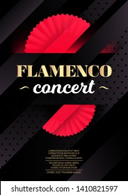 Vertical flamenco dark background with red fans and text. Vector illustration.