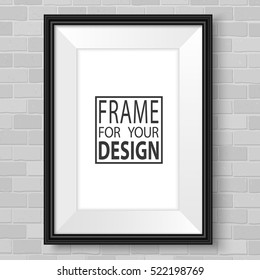 Vertical frame on brick wall. Vector template ready for presentation design. Black framing mock up for drawing, painting or photo.