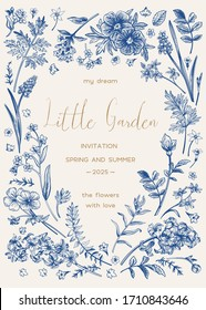 Vertical frame with plants. A small garden. Vector floral invitation card. Vintage style. Botanical illustration. Muscari, ferns, wormwood, geranium, hyacinth, rose, forget-me-not. Blue.