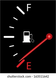 Vertical fuel indicator illustration on black background. Abstract isolated vector design. Fuel gauge indicating nearly empty.
