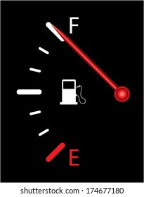 Vertical fuel indicator illustration on black background. Abstract isolated vector design. Fuel gauge indicating full.