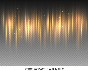 Vertical golden yellow radiance glow pulsing rays on transparent background. Vector abstract illustration of hot orange Aurora Borealis light effect. Shining waves design. Polar glowing flare