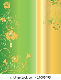 Vertical green and gold background pattern with floral ornaments