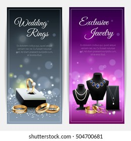 Vertical grey and purple realistic banners with wedding rings and exclusive jewelry isolated vector illustration