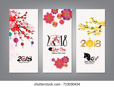 Vertical Hand Drawn Banners Set with Chinese New Year 2018 (hieroglyph: Dog)